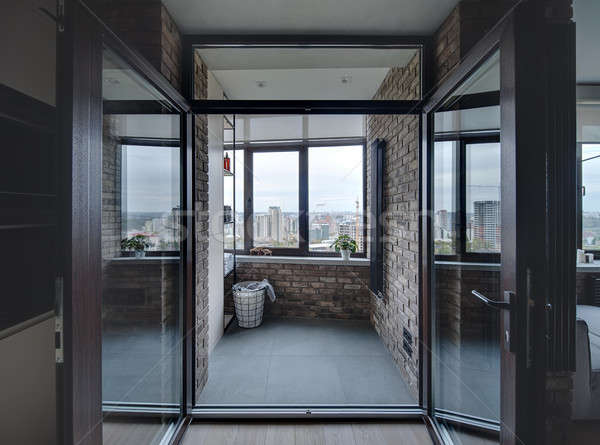 Erkély padlás stílus bejárat tégla falak Stock fotó © bezikus