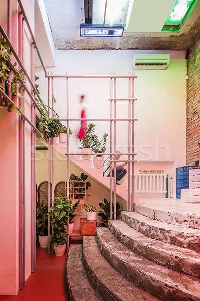 Kafe çatı katı stil restoran ışık tuğla Stok fotoğraf © bezikus