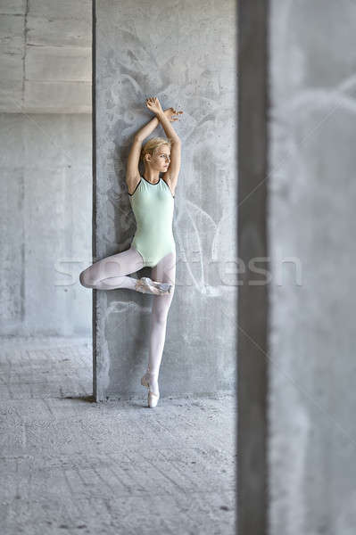 Ballerina poseren gebouw mooie beton Stockfoto © bezikus