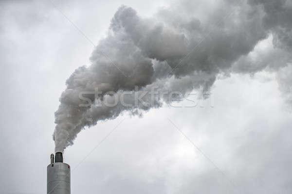 Palenia komin elektrownia mętny szary niebo Zdjęcia stock © bezikus
