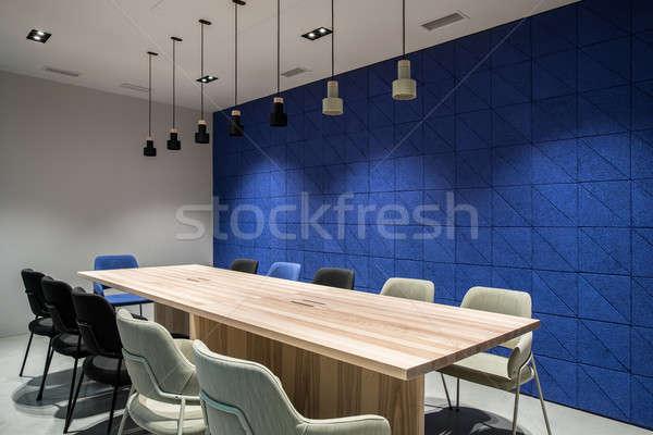 Zdjęcia stock: Elegancki · sala · konferencyjna · szary · niebieski · ściany · sala · konferencyjna