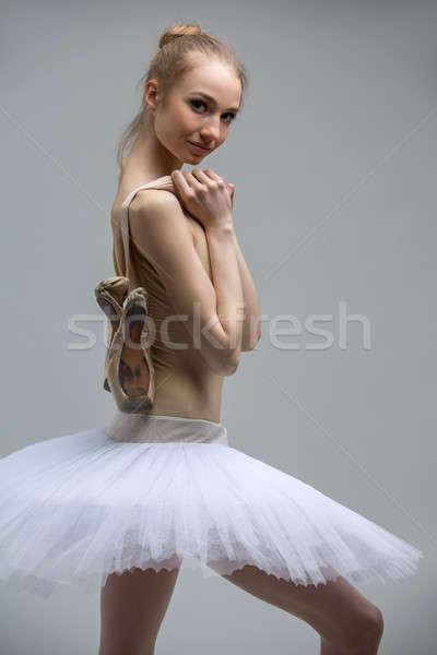 Foto stock: Retrato · jovem · bailarina · branco · braço