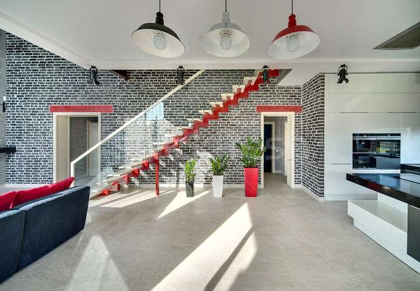 Stock fotó: Előcsarnok · modern · stílusú · belső · fekete · tégla · falak