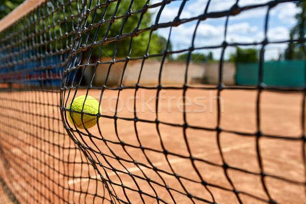 Amarelo bola de tênis com tribunal ao ar livre sol Foto stock © bezikus