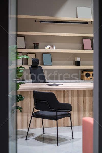 служба деревянный стол Полки комнату серый Сток-фото © bezikus