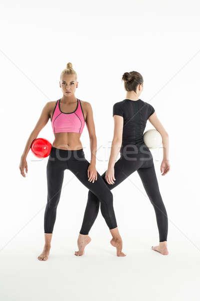 Iki kızlar spor kız siyah Stok fotoğraf © bezikus