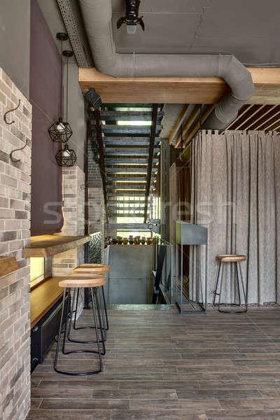 Restaurant vliering stijl kamer houten rack Stockfoto © bezikus