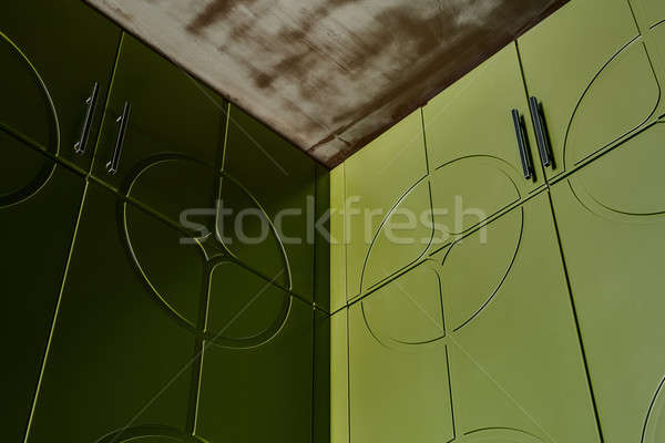 Green wardrobes and ceiling Stock photo © bezikus