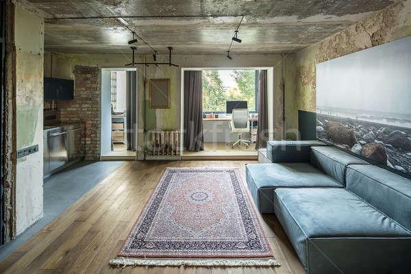 Interior sótão estilo ouvir tijolo Foto stock © bezikus