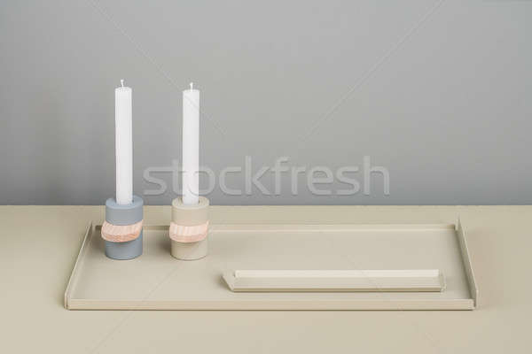 Metal beige supports and candlesticks Stock photo © bezikus