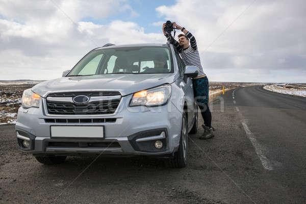 Travelers on country roadway Stock photo © bezikus