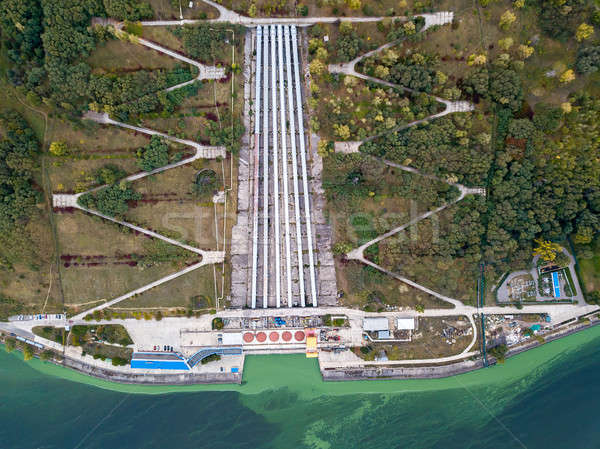 Légi fotó átjáró elektromos erőmű erőmű zöld Stock fotó © bezikus