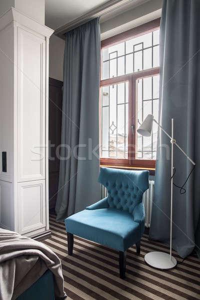 Elegante quarto de hotel maravilhoso luz paredes listrado Foto stock © bezikus