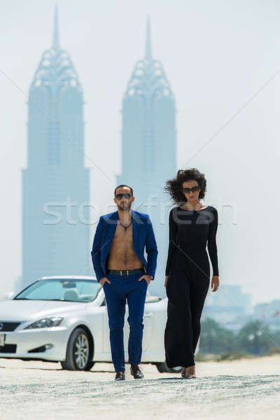 Couple on the background of skyscrapers Stock photo © bezikus
