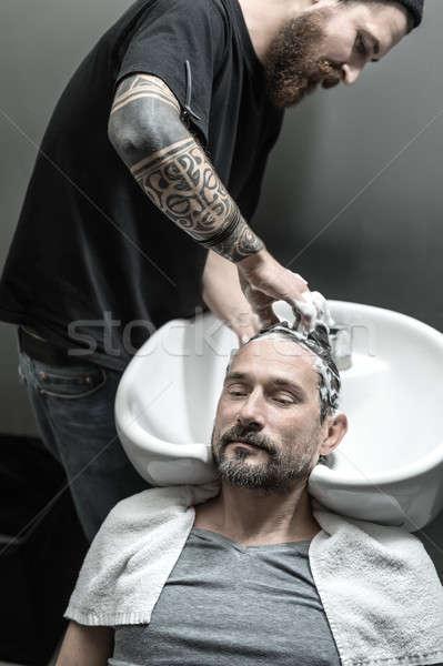 洗濯 頭 男 あごひげ 嘘 ストックフォト © bezikus