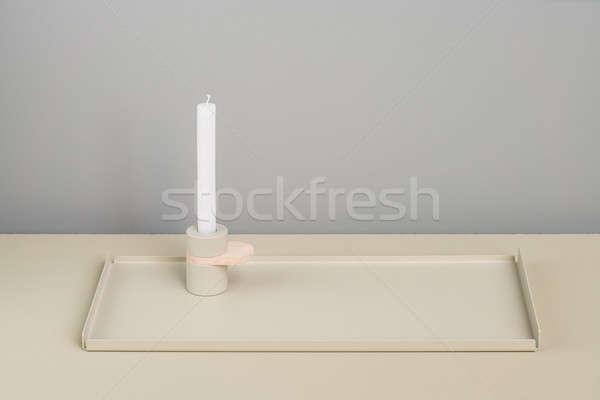 Stali beżowy wsparcia świecznik metaliczny kolor Zdjęcia stock © bezikus