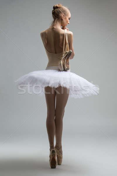 Portrait of young ballerina in white tutu Stock photo © bezikus