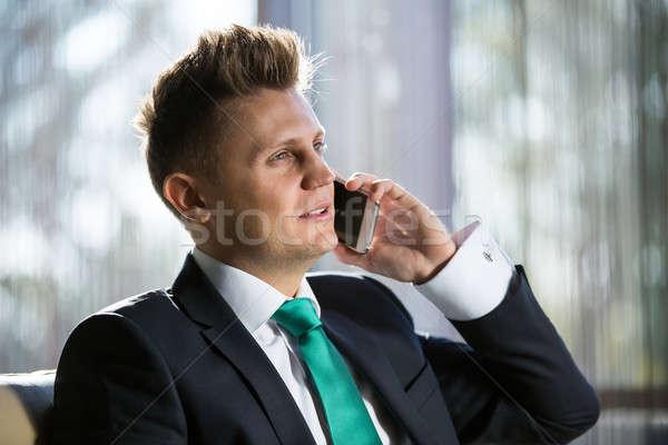 Elegancki biznesmen mówić ktoś telefonu Zdjęcia stock © bezikus