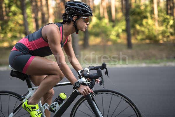 Kız bisiklet güzel yol doğa Stok fotoğraf © bezikus
