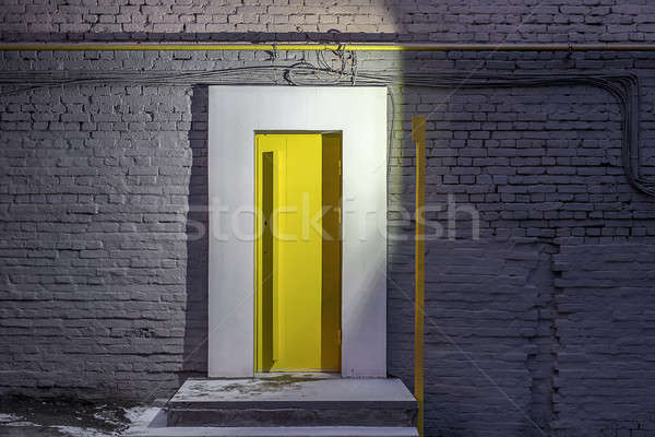 вход желтый двери кирпичная стена дизайна служба Сток-фото © bezikus