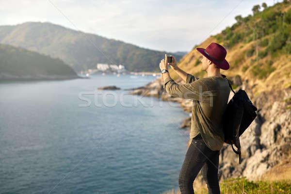 Stockfoto: Reiziger · foto's · outdoor · toeristische · zwarte
