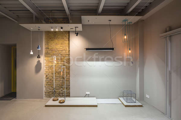 çatı katı stil iç gri duvarlar dar Stok fotoğraf © bezikus