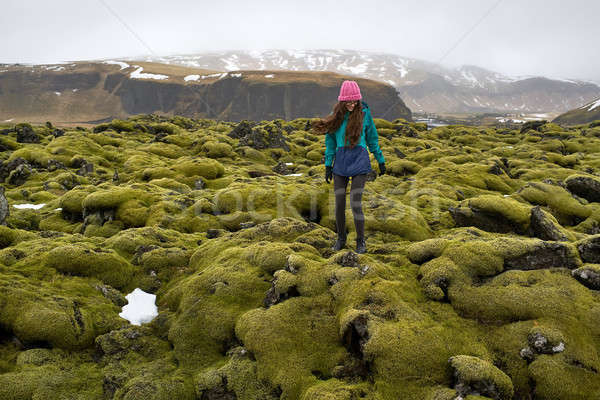 Girl posing on moss field Stock photo © bezikus