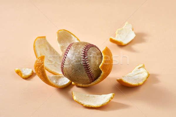 Baseball bal citrus grunge oranje Stockfoto © bezikus