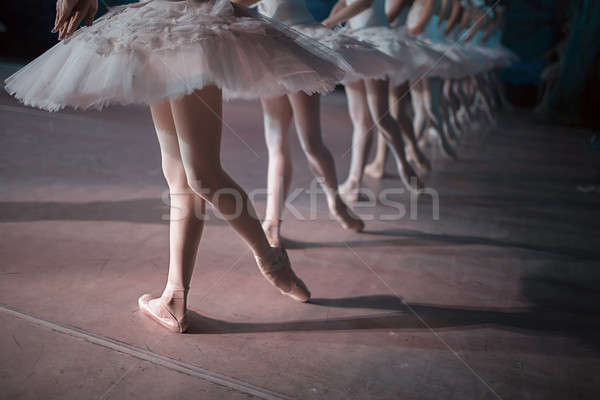 Dancers in white tutu synchronized dancing Stock photo © bezikus