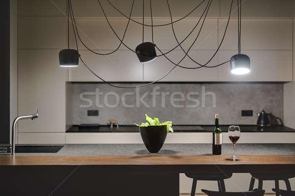 Mutfak çatı katı stil beton duvar ada Stok fotoğraf © bezikus