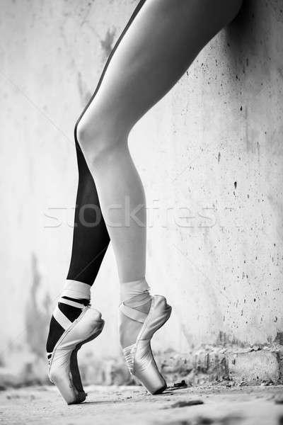 Ballerina láb közelkép mintázott beton fotó Stock fotó © bezikus