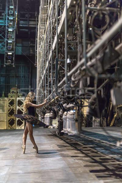 Ballerina pózol belső vonzó nagy színpad Stock fotó © bezikus
