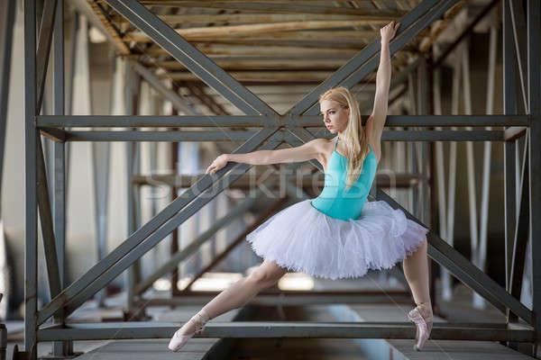 Gracioso bailarina industrial branco ponte menina Foto stock © bezikus