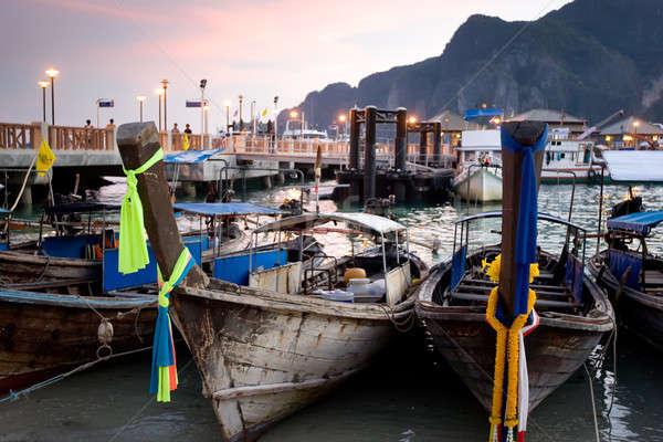 longtail boats at sunset Stock photo © bezikus