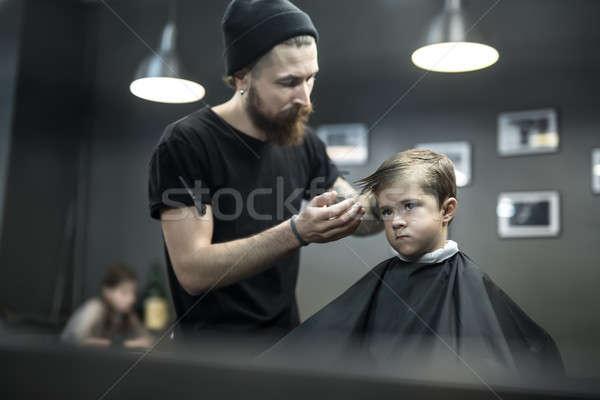 子供 髪 魅力的な 少年 黒 ストックフォト © bezikus