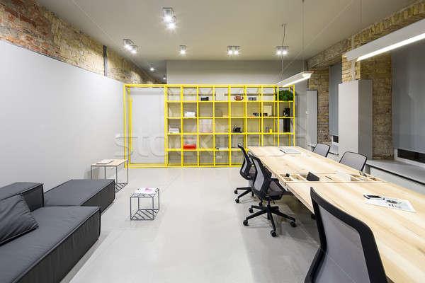 Belső padlás stílus iroda szürke tégla Stock fotó © bezikus