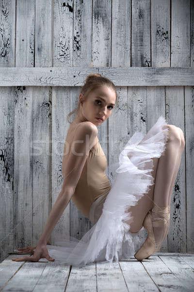 Jonge bevallig ballerina danser permanente Stockfoto © bezikus