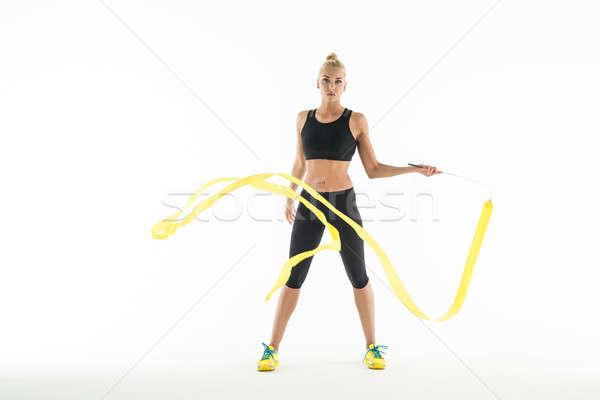 Ritmisch gymnast oefening lint studio witte Stockfoto © bezikus
