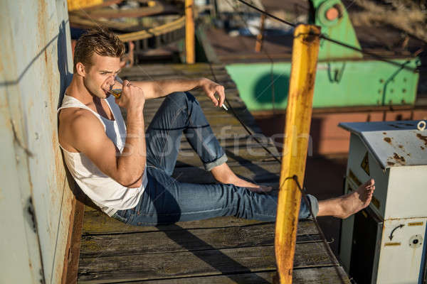 Stylish smoker outdoors Stock photo © bezikus