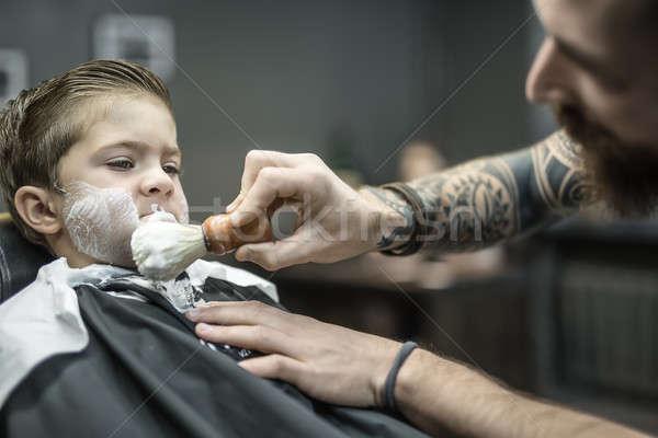 Vicces kicsi fiú álmodik gyerek fekete Stock fotó © bezikus