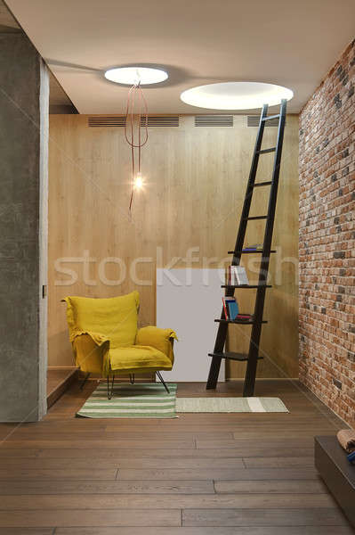 Interieur vliering stijl kamer houten baksteen Stockfoto © bezikus