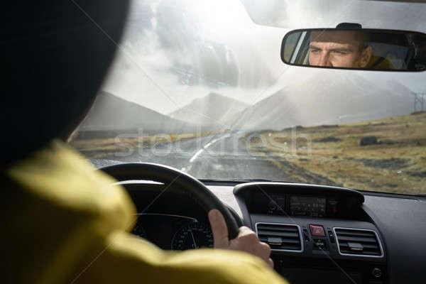 View at Icelandic landscape from inside car Stock photo © bezikus
