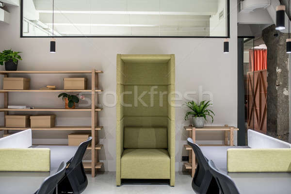 Stylish office in loft style with gray walls Stock photo © bezikus