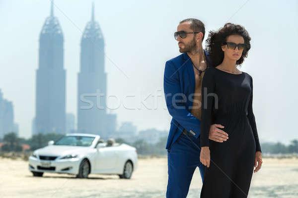 Couple on the background of skyscrapers Stock photo © bezikus