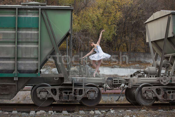 Ballerina between freight wagons Stock photo © bezikus