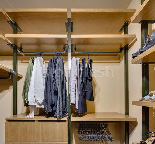 Bent fából készült ruhásszekrény polcok fiókok ruházat Stock fotó © bezikus