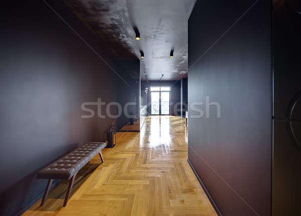Interior estilo moderno sala oscuro paredes piso Foto stock © bezikus