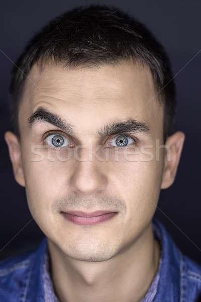 Portre eğlenceli makro genç adam Stok fotoğraf © bezikus