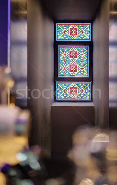 Vitraux ornement coloré stand niche Photo stock © bezikus