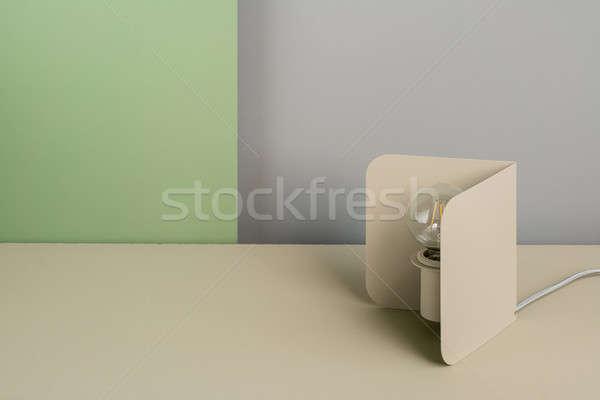 Stockfoto: Metaal · beige · lamp · groot · metalen · gloeilamp
